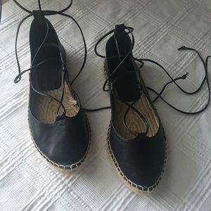 Zara black espadrilles lace up ankle flats size 8